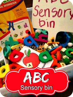 FUN and easy to make abc's sensory bin! My daughter loves it!