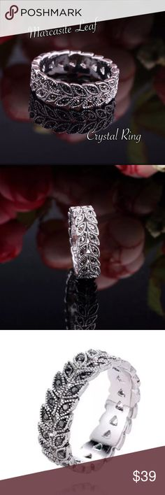 Antique Silver Vintage Crystal Marcasite Ring Gorgeous Antique Silver Marcasite Leaf Vine Band Ring w/Gunmetal Diamantes. Sizes 6, 7, 8 or 9 Jewelry Rings