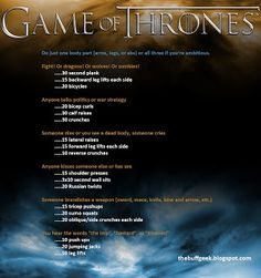 Game of Thrones exercise game for arms, legs, or abs. Work out while you watch TV! Netflix TV Workouts, TV Workout Games