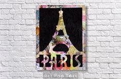 Eiffel Tower Decor - Paris art - gift idea - Giclee Print - wall decoration - bohemian art -Mixed media and collage art -French decor
