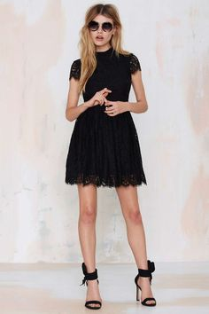 Keepsake Eclipse Lace Dress - Black