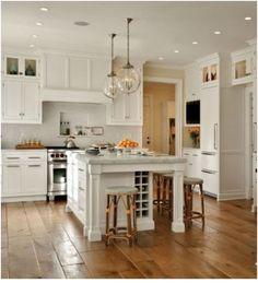 Kitchen island  & wide plank floors