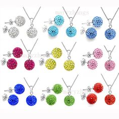 SET!Shamballa Crystal Bead Disco ball Swarovski Silver Necklace & stud earring