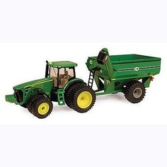 John Deere 1/64 8320R Tractor w/ Grain Cart . $15.99. John Deere 8320R tracotr. J&M Grain Cart. Bring the grain in from the field. The JD 8320R tractor with its dual front and rear tires can pull the heaviest load of grain. The J&M grain cart rides on soft plastic tires. The auger pivots to unload the grain into the elevator. The 8320R has a sturdy die-cast body with an osciallating die-cast front axle. Soft plastic tires makes for a smooth ride. The grain cart has ...