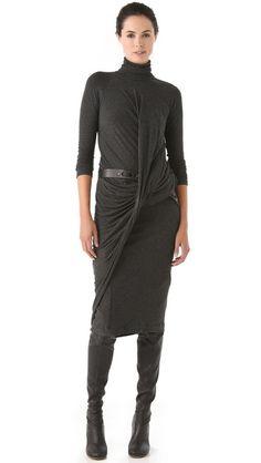 DKNY Twist Drape Dress. Mode-sty: fashion for conservative stylish women. Sign up at www.mode-sty.com
