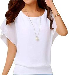 online shopping for Hount Womens Loose Fit Casual Chiffon Short Sleeve Blouses Tops Shirts from top store. See new offer for Hount Womens Loose Fit Casual Chiffon Short Sleeve Blouses Tops Shirts Coffee Date Outfits, Loose Tops, Loose Fit, Blouse Online, Shirts Online, Short Sleeve Blouse, Batwing Sleeve, Long Sleeve, Crossdressers