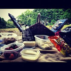 My very own picnic in the park. In love with my basket and the food was all handmade-minus the Cheetos which are a must have for my boyfriend.