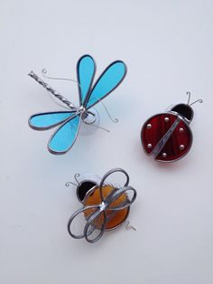 Triple fun summer bugs adorable stained glass by seasonaltreasures, $55.00
