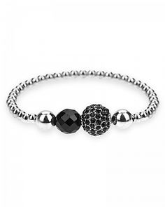 BaubleBox | Lena Crystal White Gold Rhodium Jet Black Faceted Beaded Str