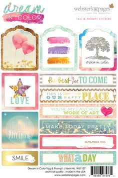 Websters Pages - Dream in Color Collection - Cardstock Stickers - Tags and Prompts at Scrapbook.com