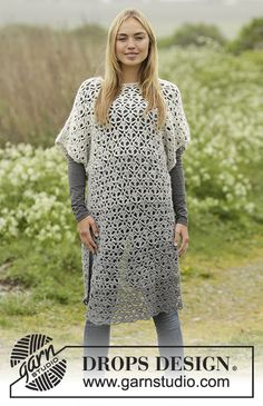 Winter Skies Tunic with lace pattern and stripes by DROPS Design. Free #crochet pattern