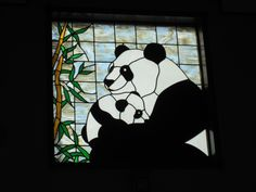 Aunt Kim: Not sure how to tag you, but this is stinking cute! Panda stained glass, San Diego, CA