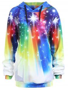 8dbcd95346424 Plus Size Rainbow Christmas Snowflake Hoodie - COLORFUL 4XL Christmas  Hoodie
