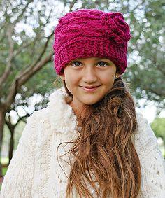 Loving this Sugar Plum Gloria Cable-Knit Wool Beanie on #zulily! #zulilyfinds