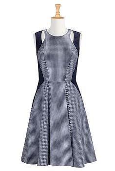 Cutout shoulder gingham check dress