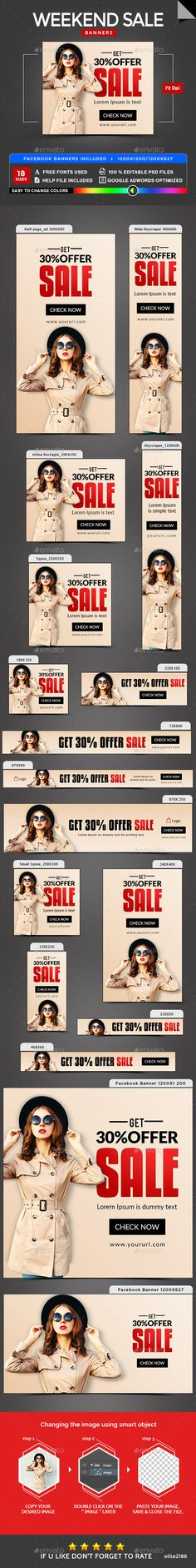 Weekend Sale Banners - #Banners & Ads #Web Elements Download here: https://graphicriver.net/item/weekend-sale-banners/19700055?ref=alena994