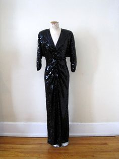vintage 80s does 40s black sequined Oleg Cassini by detroitdolly, $150.00