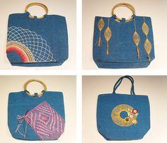 Bolsos decorados con encaje de bolillos. Una buena idea para personalizar un bolso. #bolsos encaje #bolsos bolillos