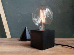 Black concrete Lamp. Concrete table lamp. Concrete desk lamp.