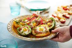 Színes töltött paprikák forrólevegős sütőben készítve | Nosalty Actifry, Gluten, Avocado Egg, Baked Potato, Potato Salad, Blog, Eggs, Breakfast, Ethnic Recipes