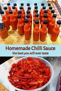 Homemade Chilli Sauce - recipe for medium hot flavoursome chilli sauce. Homemade Chilli Sauce - recipe for medium hot flavoursome chilli sauce. Chili Sauce Recipe, Hot Sauce Recipes, Chilli Recipes, Canning Recipes, Mexican Food Recipes, Pizza Recipes, Hot Sauce Recipe For Canning, Fermented Hot Sauce Recipe, Cayenne Pepper Recipes