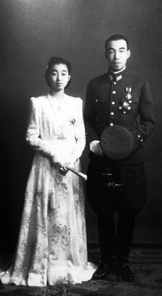 1943 wedding of Emporer Hirochito's eldest daughter, 18-year-old Princess Teru Shigeko and Prince Morihiro Higashikuni. They had five children. She died of cancer in 1961 at the age of 35. He remarried in 1964 and had two more children. He died in 1969 at the age of 52.