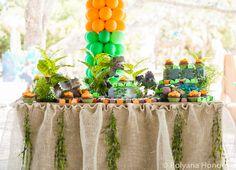 dinosaur themed birthday party. Table decoration.