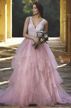 f75fdf72e69 A-Line Cascading-Ruffle Sleeveless V-Neck Floor-Length Tulle Wedding Dress