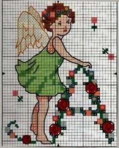 Schemi per il punto croce: Alfabeto con angeli e fiori