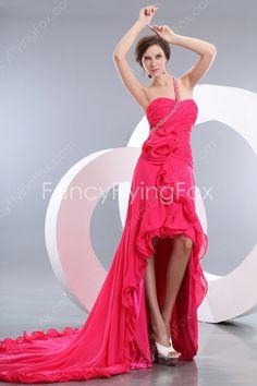Hot Pink One Shoulder Front Short Back Long High Low Prom Dresses at fancyflyingfox.com