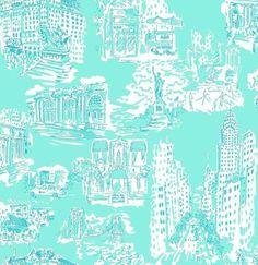 NYC Tiffany blue toile