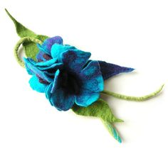 Felted brooch flower wool felt  turquoise green by MarlenaRakoczy, $22.00