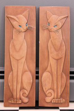 RARE Vintage Mid Century Modern Plaster Siamese Cats Hanging Wall Plaques | eBay
