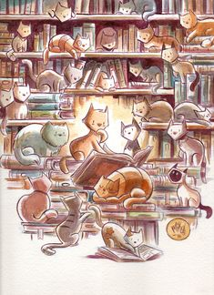 mikemaihack: Here's a bunch of cats in a library... - Coccinelle Voyage