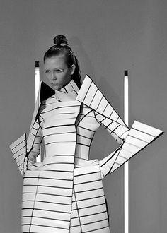 Futuristic Armour Fashion - avant garde dress with graphic silhouette; sculptural fashion // Gareth Pugh Fall 2009