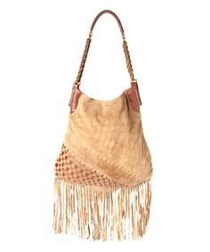 This Raj Imports Taupe Checkerboard Fringe Leather Hobo Bag by Raj Imports is perfect! #zulilyfinds