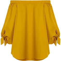 Tibi Satin Poplin Off-the-Shoulder Tunic ($118) ❤ liked on Polyvore featuring tops, tunics, blouses, shirts, sinapis yellow, yellow top, loose tunic, off the shoulder shirts, sleeve shirt and tie shirt