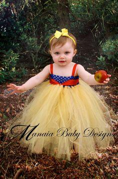 Snow White Inspired Princess Tutu Dress -- Empire Waist, Royal Blue, Yellow, and Red. $29.00, via Etsy.
