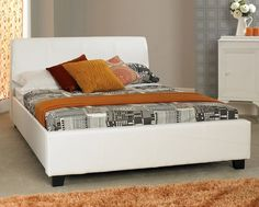 The Modena bed frame is upholstered in white faux leather and contrasting dark feet, giving it a contemporary look that will work well in any bedroom. Leather Bed Frame, Best Deals Online, Bed Frames, Contemporary, Bedroom, Storage, Wood, Furniture, Dark