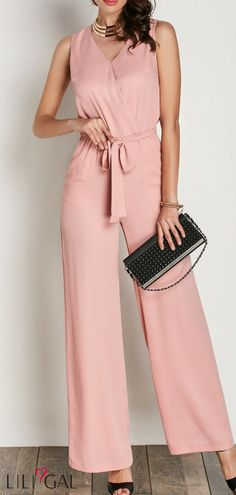 272045385500 V Neck Pink Sleeveless Belted Jumpsuit  liligal  jumpsuits  womenswear   womensfashion Elegant Outfit