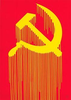 ZEVS - CCCP - LIQUIDATED HAMMER AND SICKLE - KUNZT.GALLERY http://www.widewalls.ch/artwork/zevs/cccp-liquidated-hammer-and-sickle/ #MixedMedia