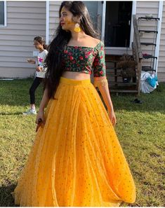 Designer lehenga choli - Image may contain one or more people, people standing and outdoor Half Saree Designs, Choli Designs, Lehenga Designs, Lengha Design, Indian Lehenga, Lehenga Choli, Anarkali, Indian Wedding Outfits, Indian Outfits