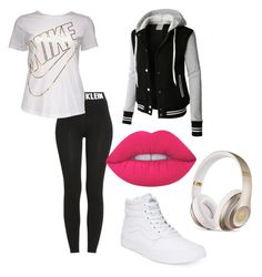 """Untitled #9"" by leilaniconklin on Polyvore featuring Calvin Klein, NIKE, LE3NO, Vans, Beats by Dr. Dre and Lime Crime"