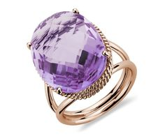 Oval Amethyst Ring in 14k Rose Gold