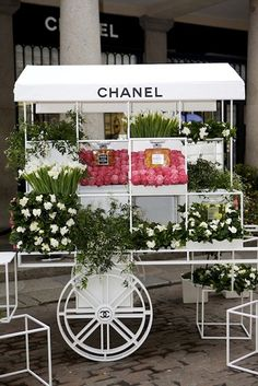 Celebrating Mother's Day in England this weekend, Chanel has opened a flower stall in Covent Garden. This unique addition to the Chanel brand will be open March 8 in front of it'… Covent Garden, Love Flowers, Beautiful Flowers, Fresh Flowers, Flowers Today, Spring Flowers, White Flowers, Chanel Flower, Flower Perfume