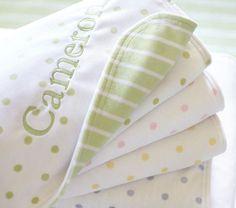 Dot & Stripe Chamois Stroller Blanket