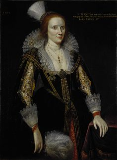 """""""By the late 1620s the embroidered jacket had begun to disappear beneath a new style gown. The jacket worn by Margaret Graham in this 1626 portrait can be seen only through her gown's split sleeves. A decade later the embroidered jacket had turned into an undergarment once more."""""""