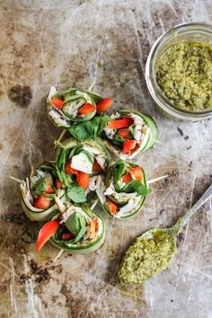 You can use either cucumber or zucchini to wrap this pesto-filled treat. Get the recipe here.