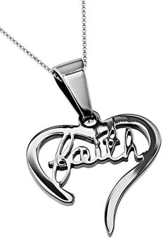 Christian Heart Necklace with Word, FAITH, Stainless Steel Chain Jewelry I Love Jewelry, Chain Jewelry, Jewellery, Christian Jewelry, Christian Shirts, Silver Necklaces, Heart Necklaces, Stainless Steel Chain, Diamond Are A Girls Best Friend