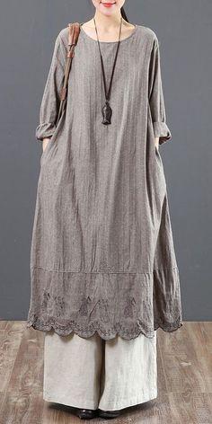 Vintage Pure Color Cotton Linen Maxi Dresses For Women 6091 - Trendy Dresses Trendy Dresses, Simple Dresses, Women's Fashion Dresses, Boho Fashion, Casual Dresses, Womens Fashion, Awesome Dresses, Beautiful Dress Designs, Linen Dresses